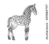 horse  filly zentangle pattern  ... | Shutterstock .eps vector #409889797