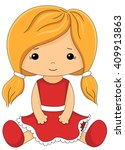 Cute Fabric Doll In Red Dress...