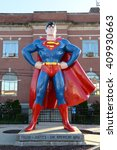 Small photo of Metropolis, IL, USA - March 25, 2016: Statue of Superman outside the Museum and hometown in Metropolis, Illinois
