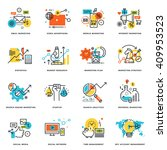 set of flat line design icons... | Shutterstock .eps vector #409953523