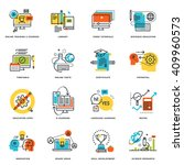 set of flat line design icons... | Shutterstock .eps vector #409960573