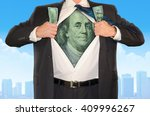 business man opening his shirt...   Shutterstock . vector #409996267