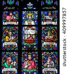 Small photo of PRAGUE, CZECH REPUBLIC - APRIL 2, 2016: Stained Glass window in St. Vitus Cathedral, Prague, depicting Mother Mary and the Prophets Daniel, Jonah, Zachary, Ezekiel, Micheas and Abdias.