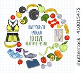 healthy lifestyle icons doodle... | Shutterstock .eps vector #410015473