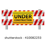 under construction sign on road ... | Shutterstock .eps vector #410082253