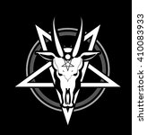 occult sign skull goat in the... | Shutterstock .eps vector #410083933