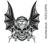 gothic coat of arms with skull  ... | Shutterstock .eps vector #410112493