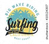 vintage  retro surfing tee... | Shutterstock .eps vector #410124307