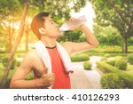 asian handsome young jogger... | Shutterstock . vector #410126293
