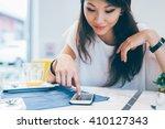 young beautiful asiatic woman...   Shutterstock . vector #410127343