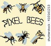 8 bit pixel bee set for game... | Shutterstock .eps vector #410161213