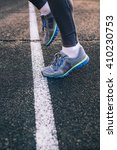 close up image sprinter legs on ... | Shutterstock . vector #410230753