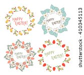 easter. frame with flowers ... | Shutterstock . vector #410345113