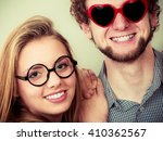 happy young man in heart shaped ... | Shutterstock . vector #410362567