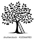 Vector Plum Tree And Ladder...