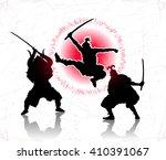 three samurai attacked each... | Shutterstock .eps vector #410391067