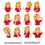 girl gestures and facial... | Shutterstock .eps vector #410393647