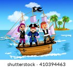 three pirates on a ship in the... | Shutterstock .eps vector #410394463