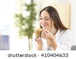 happy woman enjoying of coffee... | Shutterstock . vector #410404633