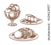 sketch set of desserts isolated ... | Shutterstock .eps vector #410413957