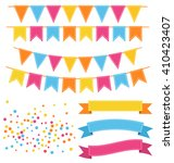 set of multicolored buntings... | Shutterstock .eps vector #410423407