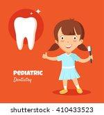 little girl smiling   holding... | Shutterstock .eps vector #410433523