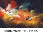 man on a boat in the outer... | Shutterstock . vector #410445427