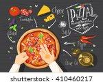 italian pizza recipe....   Shutterstock .eps vector #410460217