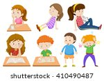 boy and girl being tired... | Shutterstock .eps vector #410490487