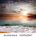 sky at sunset and sandy... | Shutterstock . vector #410562847