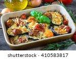 eggplant zucchini and tomato... | Shutterstock . vector #410583817