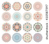 Set of colorful mandalas. Decorative round ornaments. Anti-stress therapy patterns. Weave design elements. Yoga logos, backgrounds for meditation poster. Unusual flower shape. Oriental flourish vector
