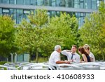happy business people in a... | Shutterstock . vector #410608933