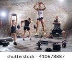 active sporty people workout... | Shutterstock . vector #410678887