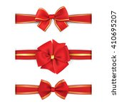 red gold bow and ribbon. vector ... | Shutterstock .eps vector #410695207