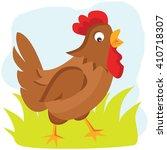 cartoon hen vector illustration.... | Shutterstock .eps vector #410718307
