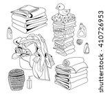 laundry line set  basket of... | Shutterstock .eps vector #410726953