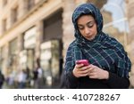young woman wearing hijab head... | Shutterstock . vector #410728267