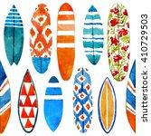 surfboard watercolor seamless... | Shutterstock . vector #410729503
