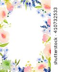 card template with hand painted ... | Shutterstock . vector #410732533