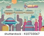 futuristic city panorama.... | Shutterstock .eps vector #410733067
