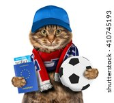 funny cat is holding soccer... | Shutterstock . vector #410745193
