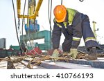 dock worker on a ship. | Shutterstock . vector #410766193