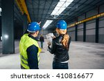 site inspector consulting with... | Shutterstock . vector #410816677