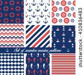 set of seamless marine patterns.... | Shutterstock .eps vector #410836483