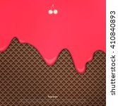 flowing cherry cream over... | Shutterstock .eps vector #410840893