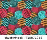 doodle circles pattern. doodles ... | Shutterstock .eps vector #410871763