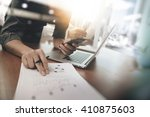 businessman hand working on... | Shutterstock . vector #410875603