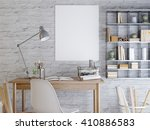 mockup poster on a white brick... | Shutterstock . vector #410886583