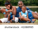 happy black family enjoying... | Shutterstock . vector #41088985